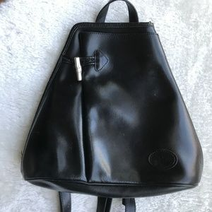 Longchamp Roseau Black Leather Backpack